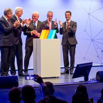 Президент Германии Франк-Вальтер Штайнмайер на церемонии открытия выставки